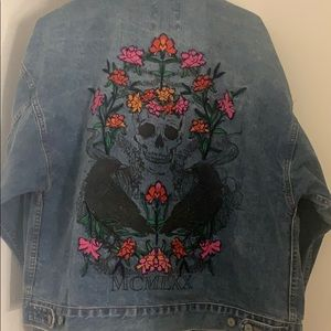 Skull and flowers jean jacket